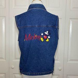 Vintage 90s Mickey Mouse Denim Vest Medium